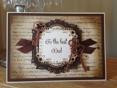 7x5 Card, made by me, using Sentimentally Yours Vintage Script Background Stamp and Sentimentally Yours Elegant Family Stamps :-)