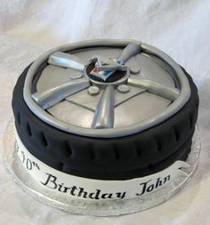 this would be a nice side cake to C's mustang cake. Mustang Cake, Ford Mustang, Tire Cake, Truck Cakes, Race Car Party, Specialty Cakes, Pretty Cakes, Cakes And More, Cake Art