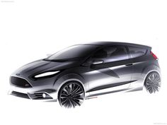 Design Sketch for the 2014 Ford Fiesta ST premiered at the 2012 LA Auto Show. Ford Fiesta St, Car Design Sketch, Car Sketch, Honda Fit, Ford News, Harrison Ford, Automotive Design, Auto Design, Transportation Design