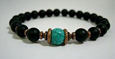 Mens Turquoise Bracelet, Mens Chakra Bracelet, Mens Copper Bracelet, Mens Protection Jewelry, Turquoise Bracelet, Mens Onyx Bracelet