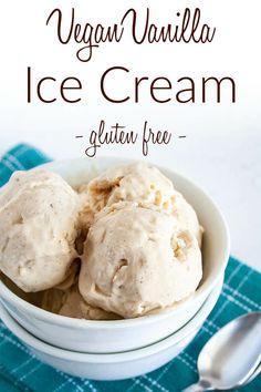 Vegan Vanilla Ice Cream (gluten free) - This creamy no-churn ice cream is an easy dessert. Made with vanilla bean and vanilla extract. Vegan Lunch Recipes, Best Vegan Recipes, Vegan Sweets, Healthy Dessert Recipes, Vegan Snacks, Dairy Free Recipes, Vegan Desserts, Vegan Food, Easy Recipes