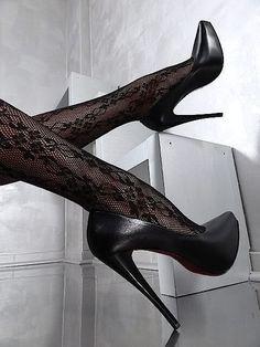 1969 LEDER HOHE Plateau Classic Sexy High Heels A54 Pumps Schuhe Leather Schwarz