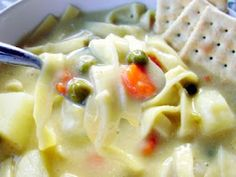 Lion House Creamy Chicken Noodle Soup. 2 chicken breast boiled and pulled apart, 1 C carrots, 1 C celery, 1 C onions, 2 cans crm chicken soup  1/4 C evaporated milk, 12 oz egg noodles, salt and pepper,  yum!
