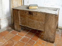 14th century hutch chest from All Saints Church, Graveney, Kent, UK