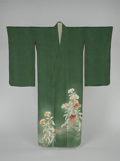 Kimono with Cockscomb Flowers Period: Taishō period (1912–26) Culture: Japan Medium: Paste-resist dyed (yūzen) and painted satin damask
