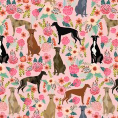 greyhound florals fabric cute brindle fabrics cute dog fabric best dogs vintage florals fabric cute dogs fabric by petfriendly on Spoonflower - custom fabric