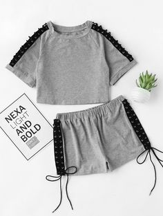 Lace Up Grommet Raglan Sleeve Heathered Loungewear Set - Loungewear - Ideas of Loungewear Sporty Outfits, Cute Outfits For Kids, Cute Summer Outfits, Trendy Outfits, Girls Fashion Clothes, Teen Fashion Outfits, Girl Outfits, Cute Sleepwear, Loungewear Set