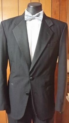 36R Mens Black 2 Button Perry Ellis Tuxedo Package Prom Wedding | eBay