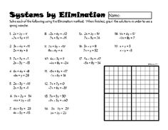 Systems of Linear Equations by Elimination from DawnMBrown on TeachersNotebook.com -  (2 pages)  - This worksheet has 19 systems problems best solved by elimination. When the answers are graphed together, students will see a spring wonder.