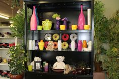 New display cabinet for our bright selection of vases and gift ware.