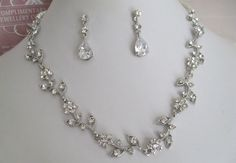 Bridal Jewelry - Bride Necklace - Bridesmaid Necklace - Rhinestone and Pearl Floral Bridal Jewely Set. $48.00, via Etsy.