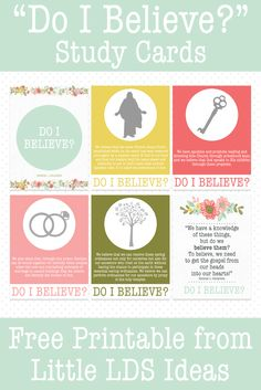 """LDS Teaching Tips for General Conference: """"Do I Believe?"""" Includes these cute Study Cards. Free Printable from Little LDS Ideas. Relief Society Handouts, Relief Society Lessons, Relief Society Activities, Conference Talks, General Conference, Visiting Teaching, Teaching Tips, Fhe Lessons, Primary Lessons"""