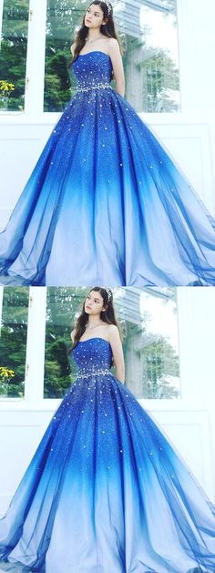 Buy A Line Blue Strapless Sweetheart Ombre Sweep Train Ball Gown Beads Tulle Prom Dresses uk in uk.Shop our beautiful collection of unique and convertible long Prom dresses from Wikiprom,offers long bridesmaid dresses for women in the UK. Cute Prom Dresses, Tulle Prom Dress, Beautiful Prom Dresses, Sweet 16 Dresses, Long Bridesmaid Dresses, Party Dresses, Skater Dresses, Prom Ballgown, Occasion Dresses