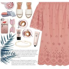 summer breeze dining by nele-eggersmann on Polyvore featuring Madewell, Panacea, Casetify, Guerlain, NYX, Bobbi Brown Cosmetics and Martha Stewart