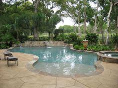 Pools & Spas Gallery, Custom Inground Pools in Houston - Pool with Raised Wall and Sheer Descents Pool Spa, My Pool, Pool Coping, Swimming Pool Landscaping, Swimming Pool Designs, Living Pool, Outdoor Living, Backyard Pool Designs, Houses