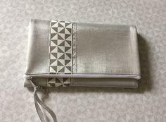 Portefeuille en simili cuir gris perle