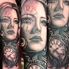 Stunning black & grey portrait tattoo by Teneile Napoli