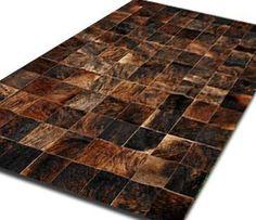 Alfombra Patchwork De Cuero De Vaca Con Pelo. 1,8m X 2,4m - 335 USD Butcher Block Cutting Board, Patchwork Rugs, Cow Hide Rug, Leather, Cod, Squares, Modern Art, Colours, Ship