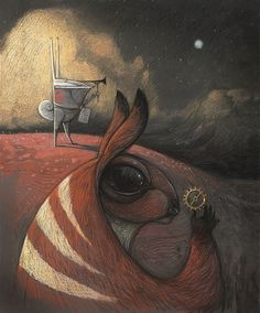 An illustration that celebrates the operatic adaptation of The Rabbits, originally staged in Perth and now coming to Melbourne, courtesy of Barking Gecko Theatre and Opera Australia. - Shaun Tan