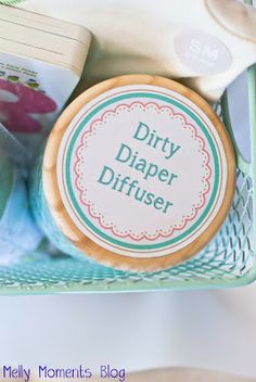 Dirty Diaper Diffuser!  Prepare yourself for all that comes with a new baby.  Moms need this free printable tag to attach to a candle.  Download at Melly Moments Blog!  Perfect addition to any gift basket or present.