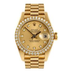 HauteLook | Vintage Watches: Rolex & More: Rolex Women's 18K Yellow... ❤ liked on Polyvore featuring jewelry, watches, accessories, bracelets, vintage bracelet, 18 karat gold bracelet, rolex watches, vintage gold watches and 18k yellow gold bracelet