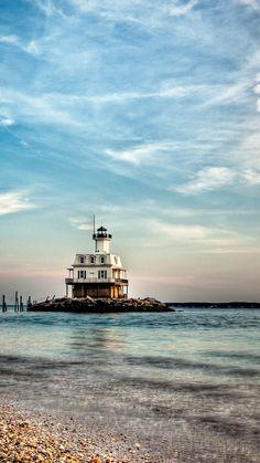Long Beach Bar Lighthouse, Orient, New York, USA- by Michael