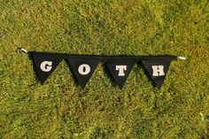 Handmade GOTH wool black bunting with grey slogan for home decor, customisable and eco / repurposed by FrancesElizabethWood gift on Etsy, £16.00
