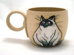Fat Cat Mug. Ceramic Handmade Cup with Beautiful by KUCHERIASHKA