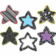 Black And White Stars 6 Inch Designer Cut Outs, Use these Black And White Stars 6 Inch Designer cut-outs to add style and pizzazz to your classroom with bright colors and whimsical designs.    6 of each design  36 per package