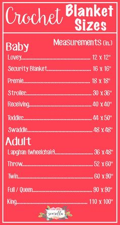 The Complete List of Crochet Blanket Sizes   Free Chart from Sewrella