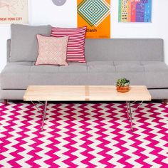 Pink Chevron Rug...the rug is the only cool thing in this pic :)