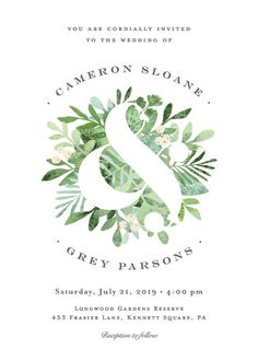 Botanical greenery watercolor Leafy Wedding Invitations in Mint. Click to see more colors and 30+ water color wedding invites: http://www.confettidaydreams.com/watercolor-wedding-invitations/