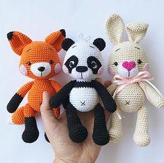 Friends of the Big Round Forest ebook. Crochet amigurumi pattern. Fox, bunny, panda. Zipzipdreams