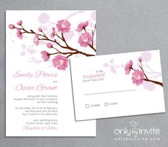 Romantic Cherry Blossom Wedding Invitation Printable DIY / Spring Cherry Tree. $15.00, via Etsy.