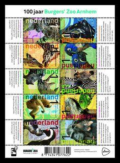 Op elk van de tien postzegels van het postzegelvel 100 jaar Burgers' Zoo Arnhem staan twee dieren afgebeeld, meestal moeder en jong.    http://collectclub.postnl.nl/pages/detail/s1/10220000001790-2-21010000000080.aspx