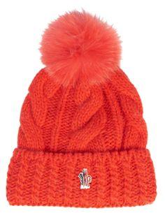 Bonnet torsadé en laine orange à pompon, Moncler Grenoble