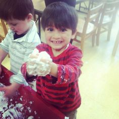 Sensory boxes, located in every classroom, encourage tactile sensory play. This develops preschoolers' fine motor skills, language processing, memory, logic, and many other processes (including mess making.)