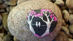 Hand painted stone, Purple trees in Spring, Home decor. $15.00, via Etsy.