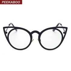 Peekaboo Black sexy cat eye glasses frames for women metal frame new fashion cat eye round glasses optical brand luxury uv gafas Cat Eye Glasses, Pink Cat, Glasses Frames, New Fashion, Sunglasses Women, Lens, Metal, Gold, Stuff To Buy