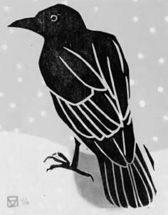 Holly Meade - Crow in Snow 5 color linoleum & woodblock print edition: 16 © 2006 Crow Art, Raven Art, Bird Art, The Crow, Linocut Prints, Art Prints, Block Prints, Vogel Illustration, Botanical Illustration