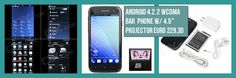 """XINBOER Dual Core Android 4.2.2 WCDMA Bar Phone w/ 4.5"""", Dual SIM Card Slot, Projector - Black from 349,= for Euro 229,30"""