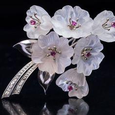 vintage hardstone brooches and pins - rock crystal brooch