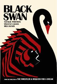 """This poster for """"The Black Swan"""" uses mainly black & red with an off white/cream background. This is an Art Deco inspired popart style poster with straight lines and angels that gives it a very distinctive look."""