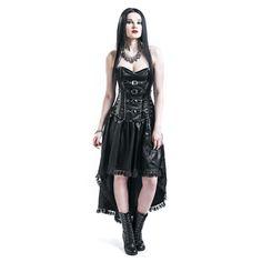 """#Abito """"Revenge Angel Dress"""" della collezione Gothicana by EMP nero con 10 stecche di silicone, lacci stringivita su fianchi e retro, cerniera laterale, fiocco decorativo sullo scollo. Pizzo 100% poliestere. Fodera 100% cotone."""