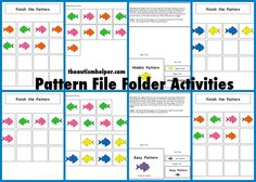 File Folder Activities to Work on Patterns! by theautismhelper.com