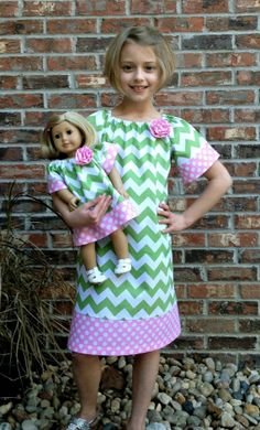Girl's Boutique Peasant Dress & Matching Doll by KinleasKloset, $40.00