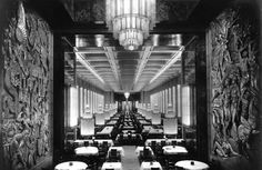 Dining room on the ocean liner Normandie, with lighting by Rene Lalique.