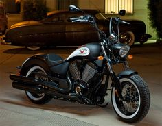 Would love this bobber style Victory.but I'd cut the handlebars down a bit. I'm not a huge fan of the Ape hangers. Victory Motorcycles, Cool Motorcycles, Bobber Style, Bobber Motorcycle, Bobber Bikes, Gas Monkey Garage, Ape Hangers, Street Bikes, My Ride