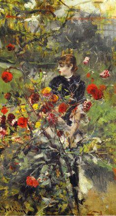 The Summer Roses by Italian painter Giovanni Boldini Oil on panel now in private hands. Giovanni Boldini, Italian Painters, Italian Artist, Art Magique, John Singer Sargent, Portrait Art, Pencil Portrait, Oeuvre D'art, Female Art