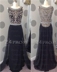 Amazing A-line Chiffon Long Black Prom Dresses, Formal Dresses – 24prom #prom #dress #promdress